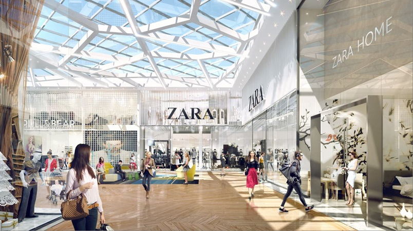 3d rendering of resting areas in a shopping alley in gropius project
