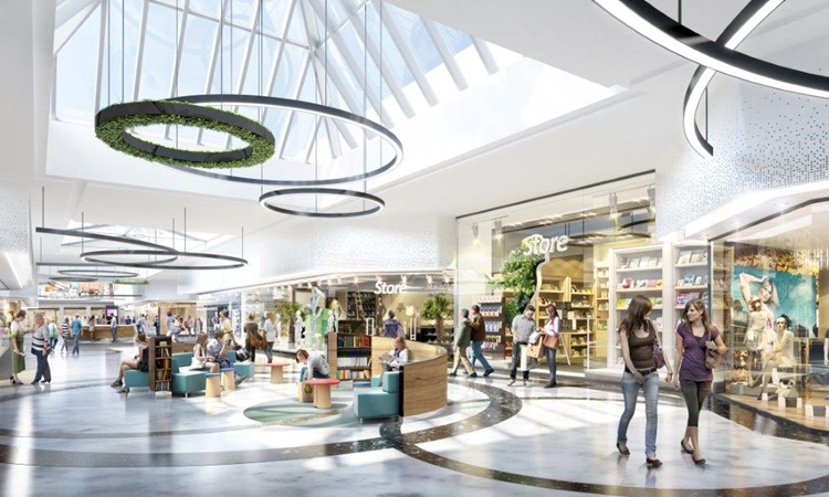 3d rendering of a shopping alley with resting areas in gropius project