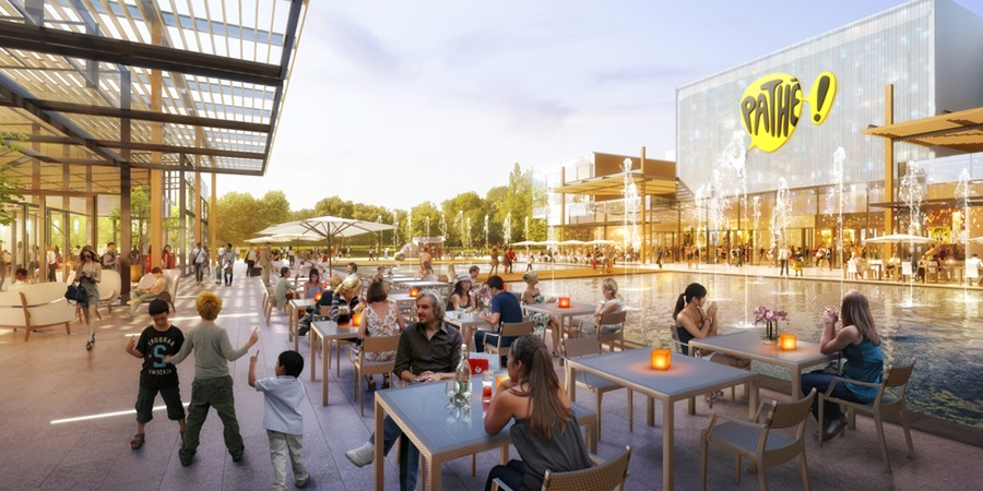 3d rendering of the main area for premium retailers in val tolosa project