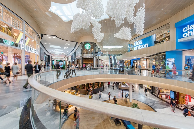 Picture of the shopping alleys inside Mall of Scandinavia shopping centre