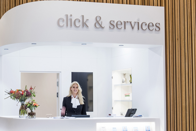 Picture of the click and services at Mall of Scandinavia shopping centre