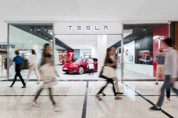 The Tesla store at the shopping centre Parly 2