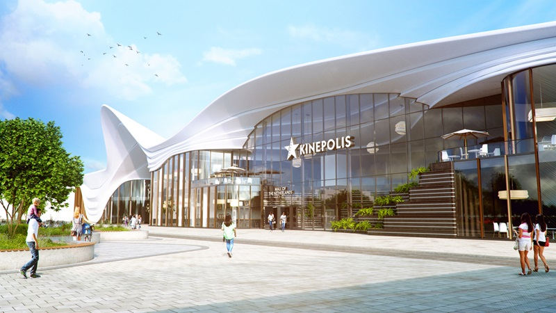 3d rendering of the main entrance at mall of the netherlands project