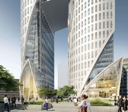 3d rendering of the main entrance to the office tower of sisters project