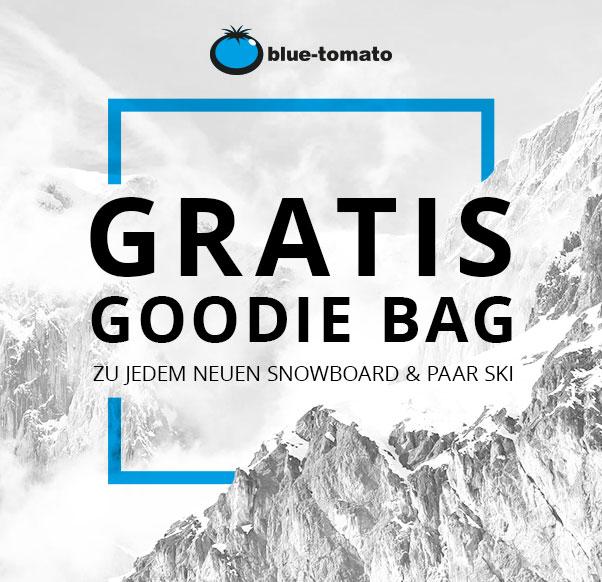 Gratis Blue Tomato Goodie Bag zu jedem Snowboard & Paar Ski