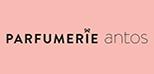 Logo Parfumerie antos vor rosa Hintergrund