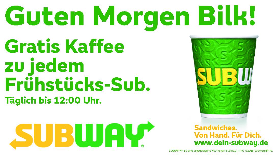 Gratis Kaffee bei Subway*