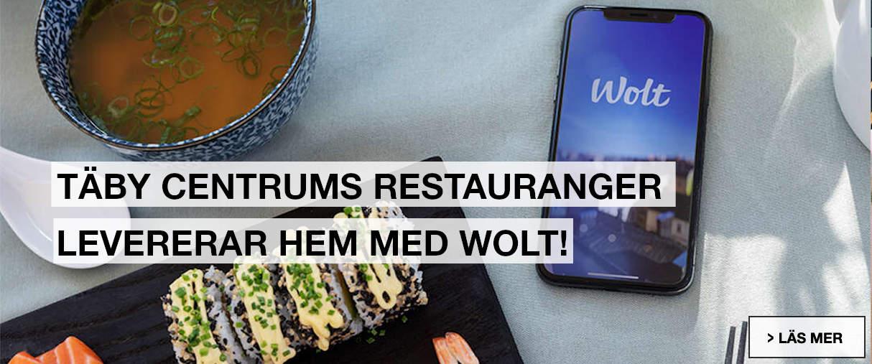 Täby Centrums resauranger levererar hem med Wolt!