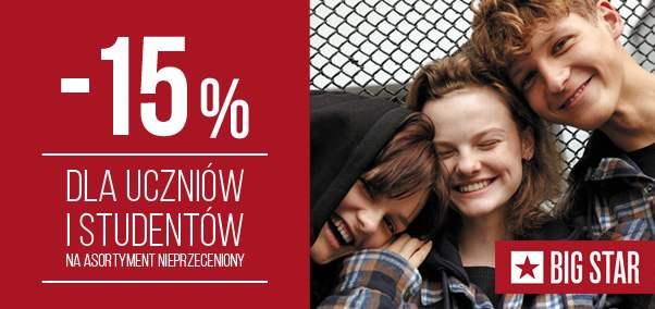 -15% dla uczniów i studentów